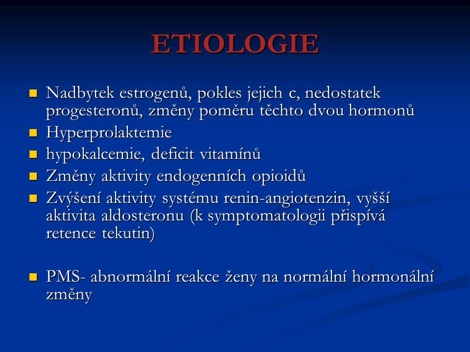 ETIOLOGIE Nadbytek estrogenů, pokles jejich c, nedostatek progesteronů, změny poměru těchto dvou hormonů.