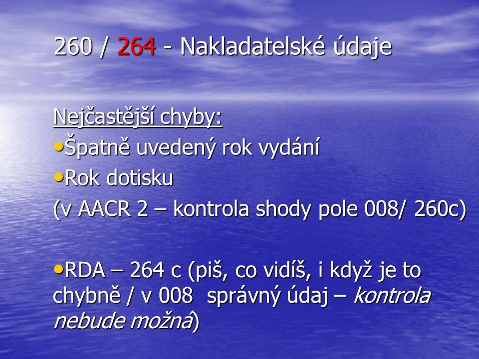 260 / 264 - Nakladatelské údaje