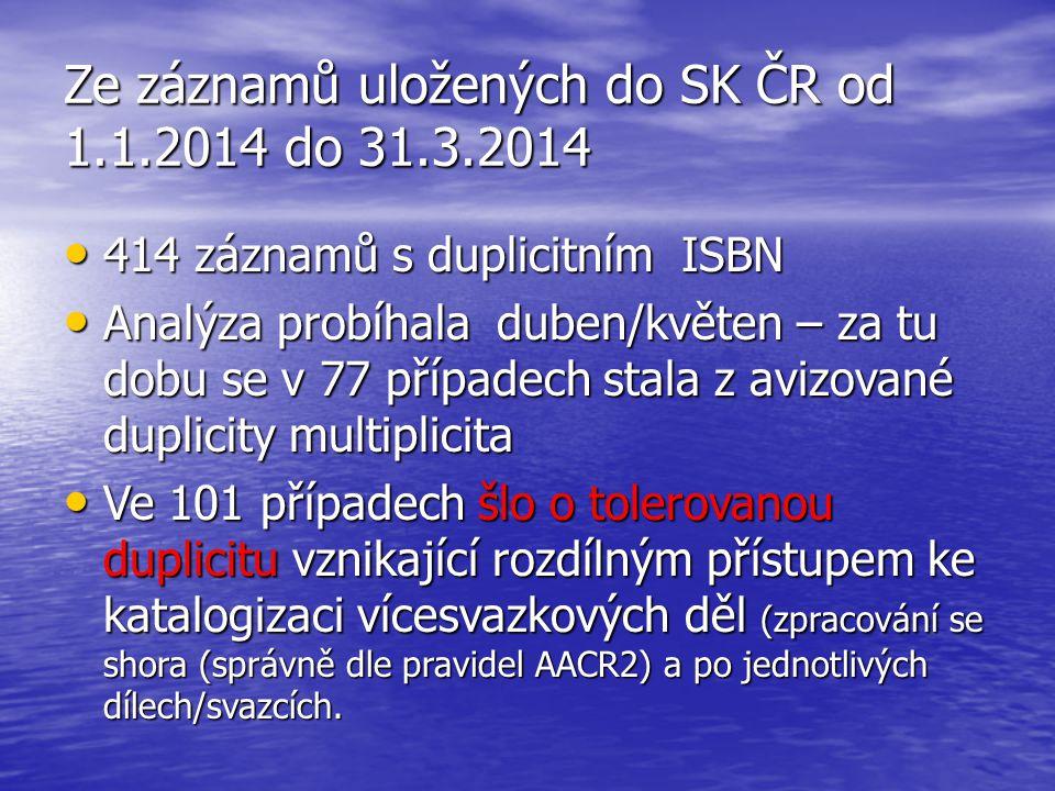 Ze záznamů uložených do SK ČR od 1.1.2014 do 31.3.2014