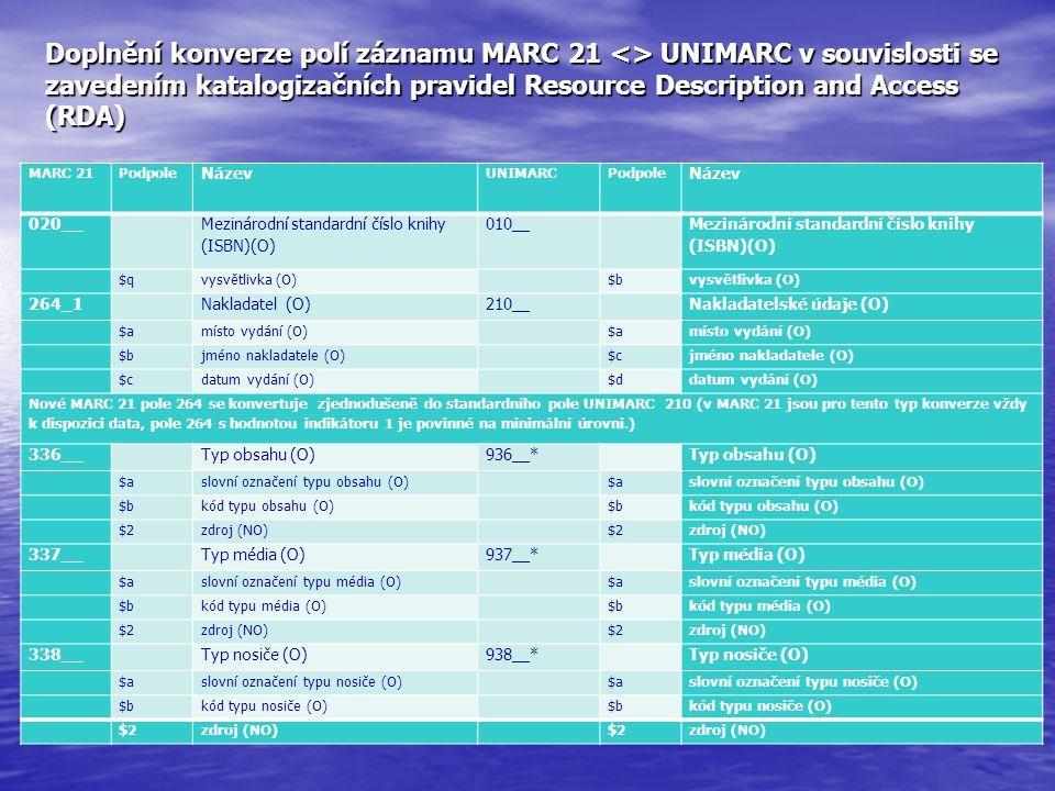 Doplnění konverze polí záznamu MARC 21 <> UNIMARC v souvislosti se zavedením katalogizačních pravidel Resource Description and Access (RDA)