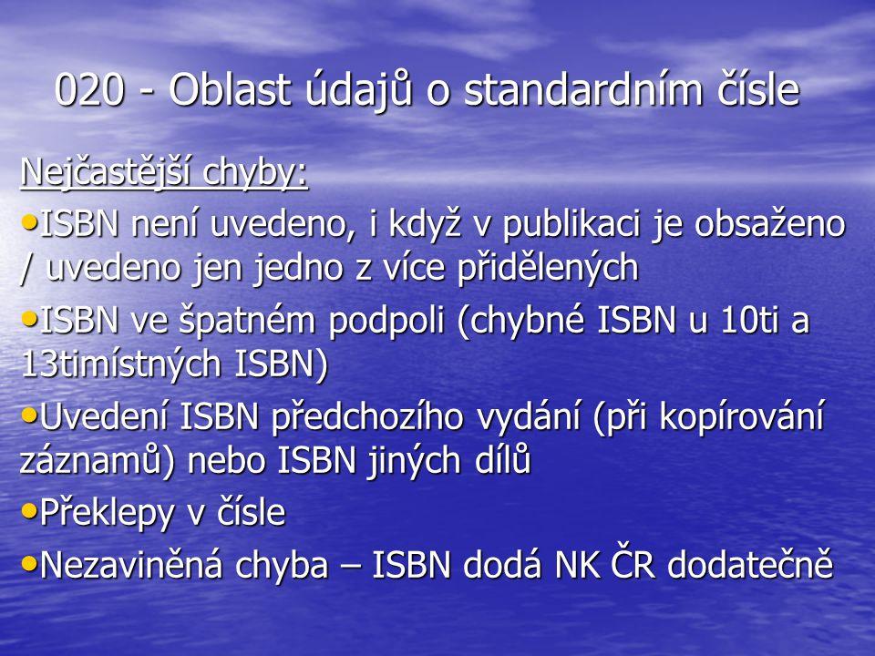 020 - Oblast údajů o standardním čísle