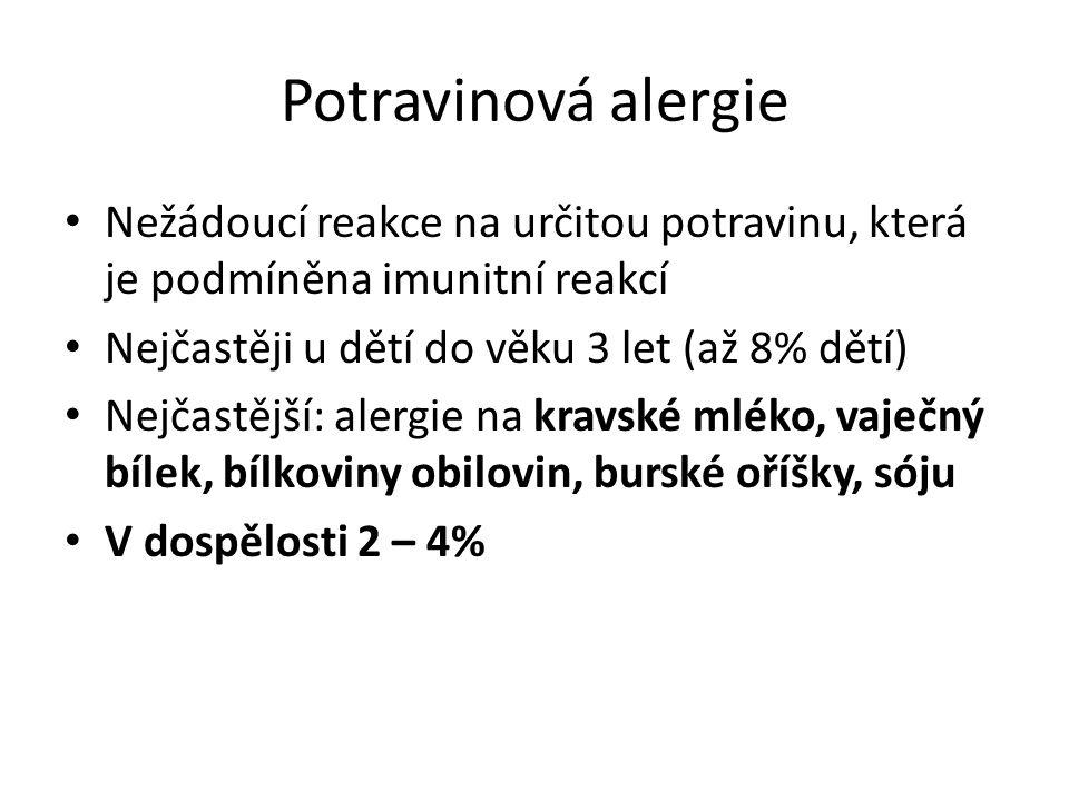 Potravinová alergie Nežádoucí reakce na určitou potravinu, která je podmíněna imunitní reakcí. Nejčastěji u dětí do věku 3 let (až 8% dětí)
