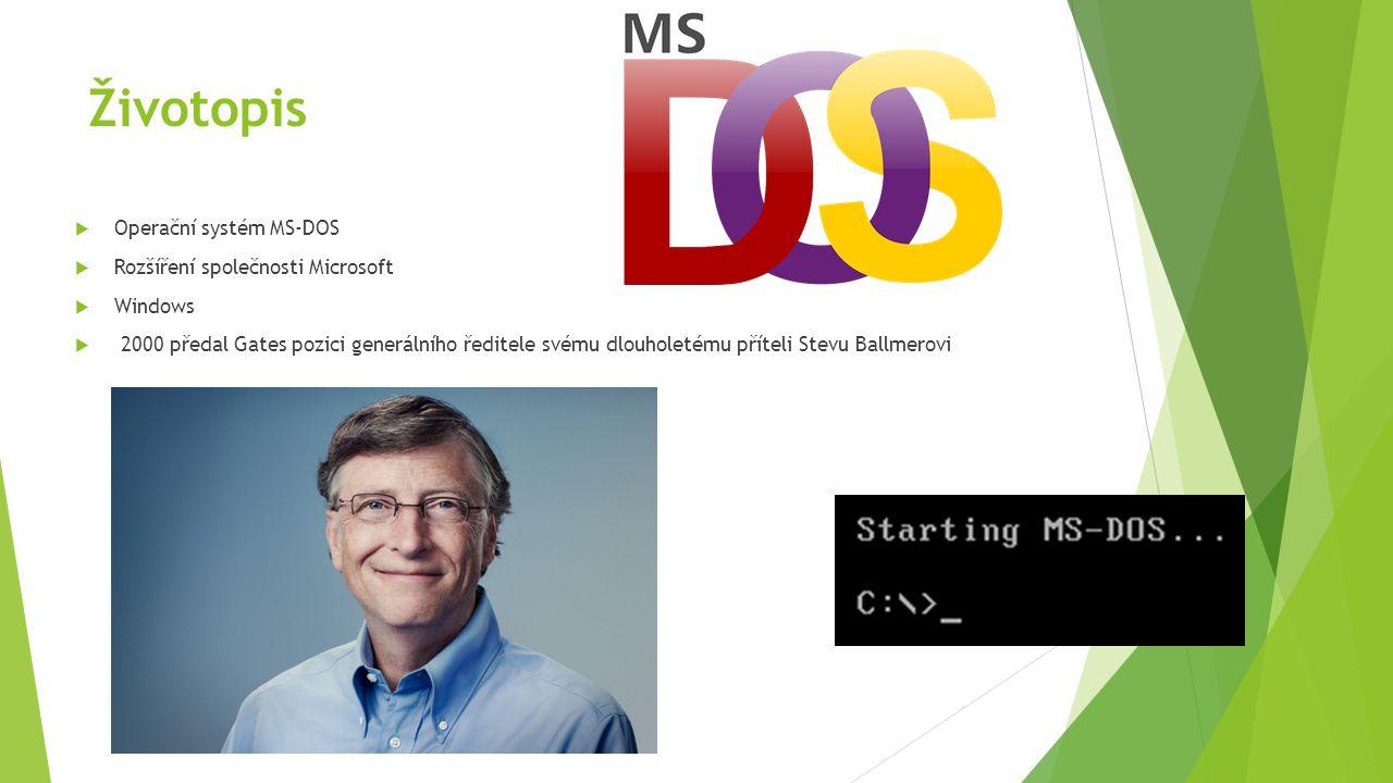 Životopis Operační systém MS-DOS Rozšíření společnosti Microsoft