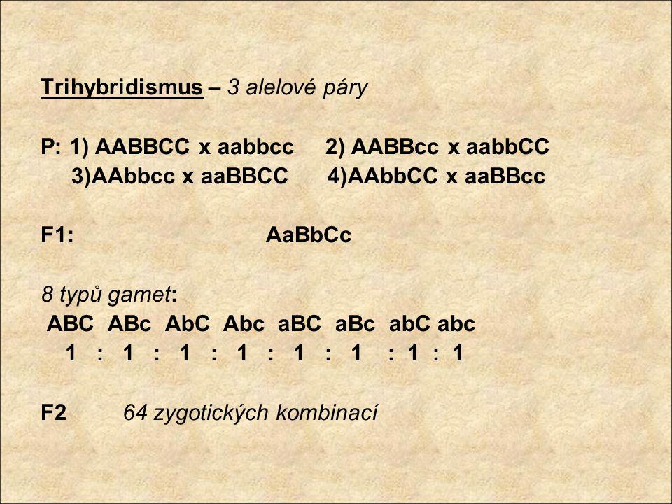 Trihybridismus – 3 alelové páry