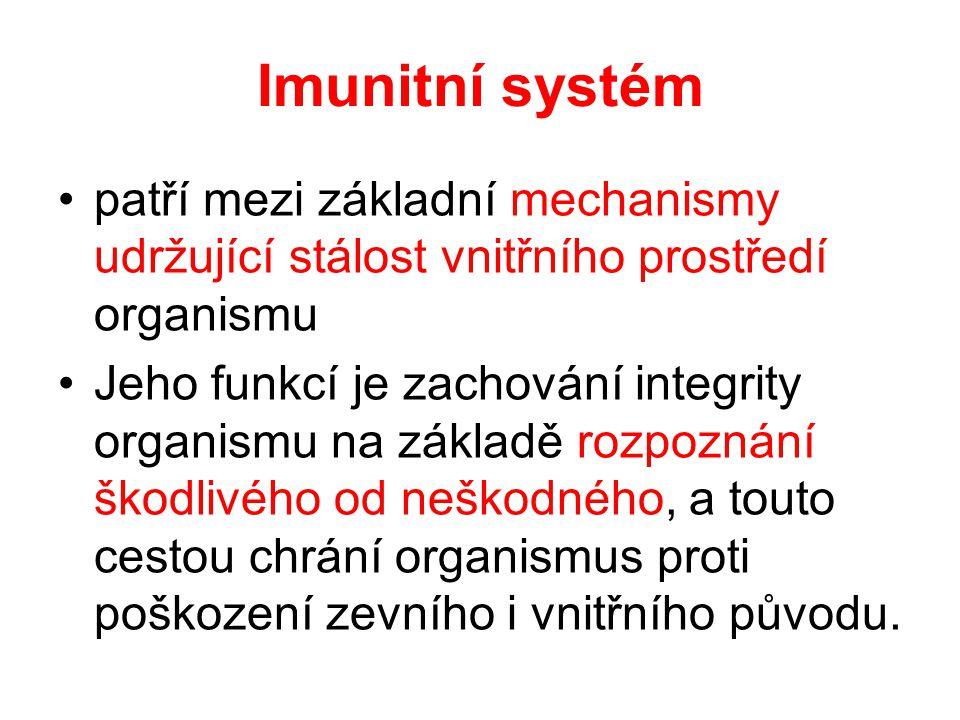 Imunitní systém patří mezi základní mechanismy udržující stálost vnitřního prostředí organismu.