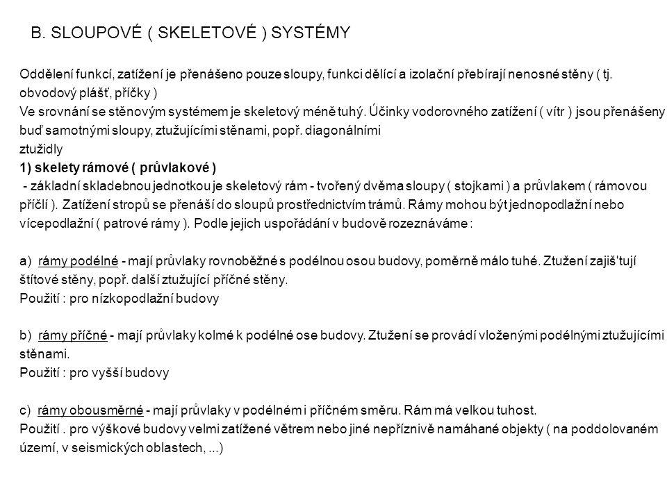 B. SLOUPOVÉ ( SKELETOVÉ ) SYSTÉMY