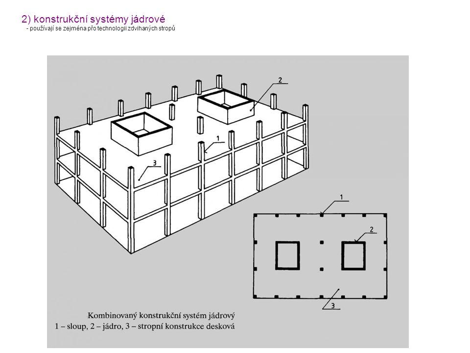 2) konstrukční systémy jádrové - používají se zejména přo technologii zdvihaných stropů