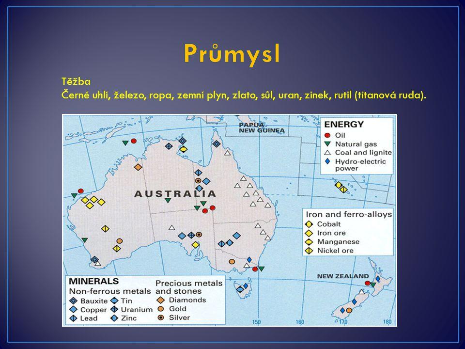 Průmysl Těžba Černé uhlí, železo, ropa, zemní plyn, zlato, sůl, uran, zinek, rutil (titanová ruda).