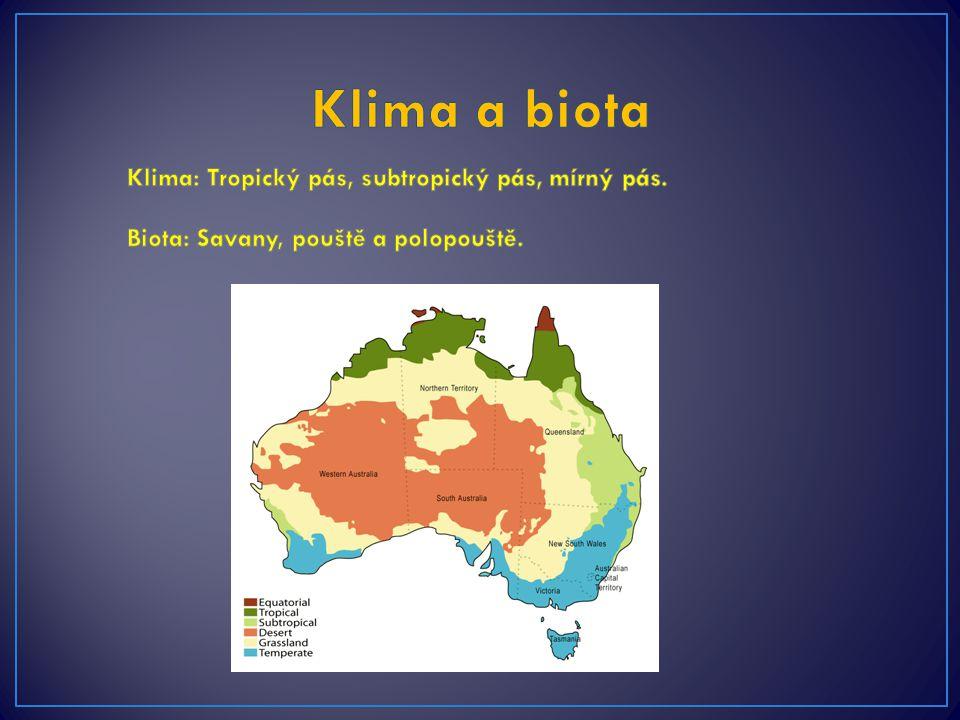Klima a biota Klima: Tropický pás, subtropický pás, mírný pás.