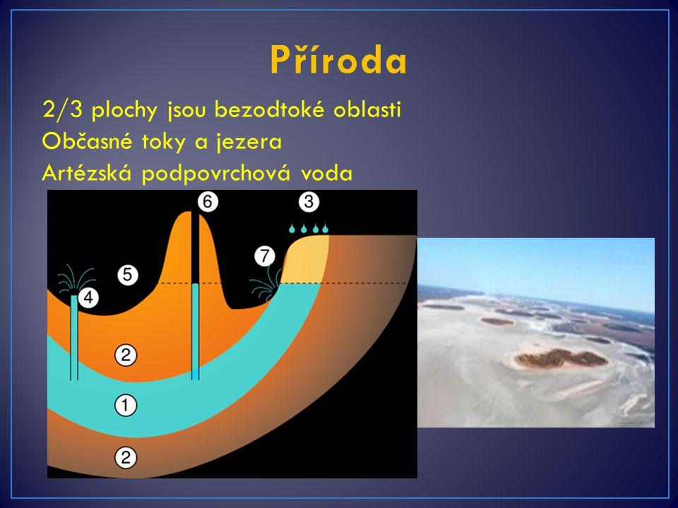 Příroda 2/3 plochy jsou bezodtoké oblasti Občasné toky a jezera