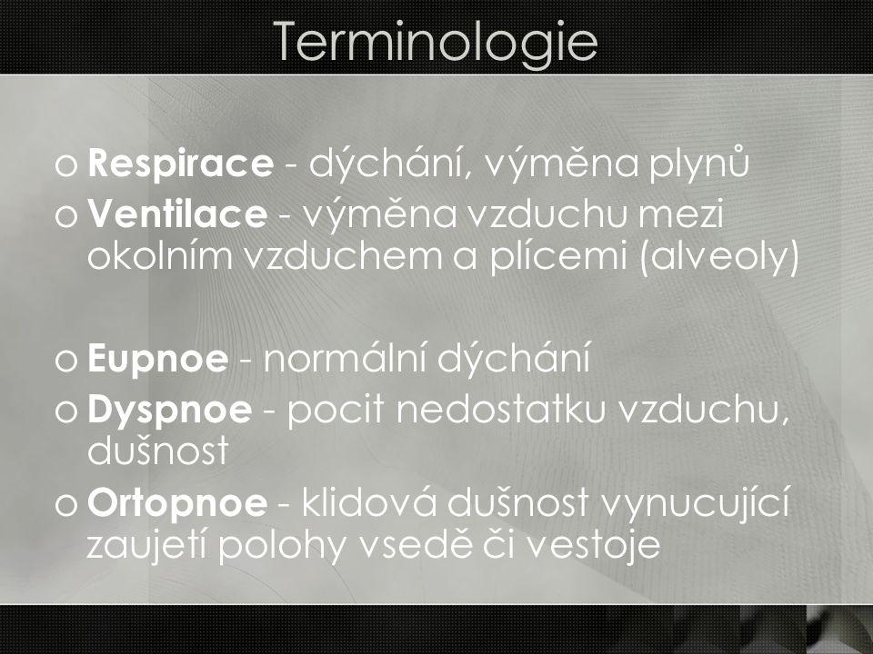 Terminologie Respirace - dýchání, výměna plynů