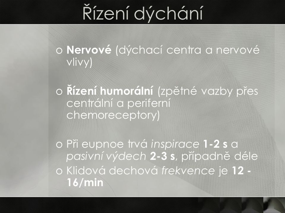 Řízení dýchání Nervové (dýchací centra a nervové vlivy)