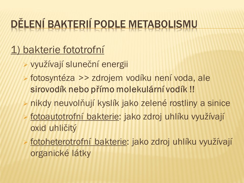 Dělení bakterií podle metabolismu