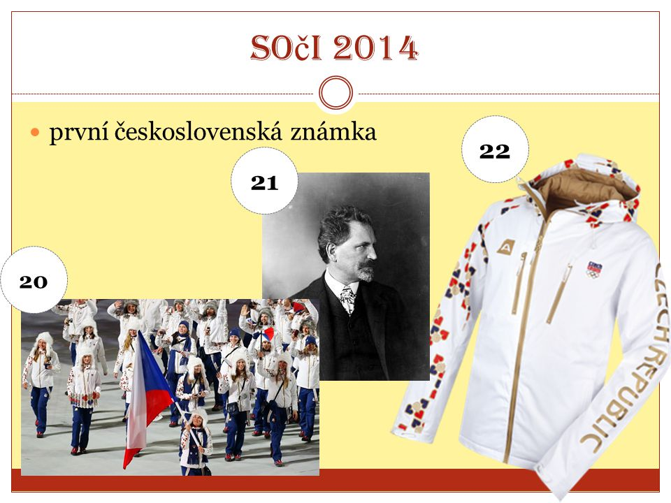 Soči 2014 první československá známka 22 21 20