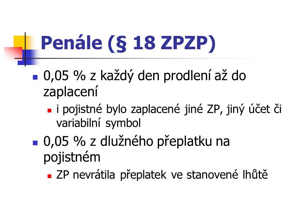 Penále (§ 18 ZPZP) 0,05 % z každý den prodlení až do zaplacení