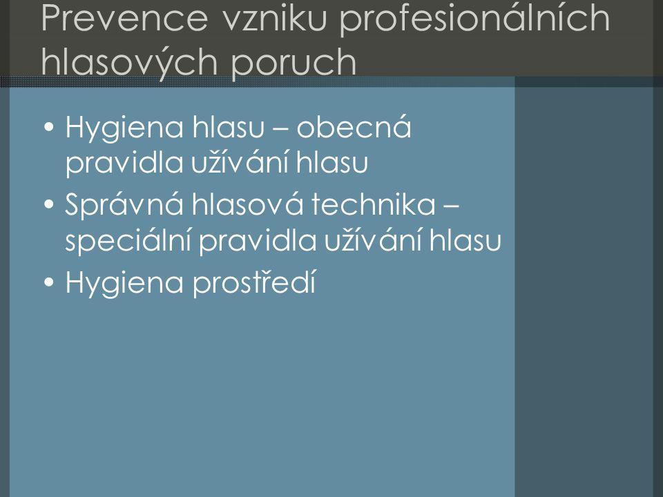 Prevence vzniku profesionálních hlasových poruch