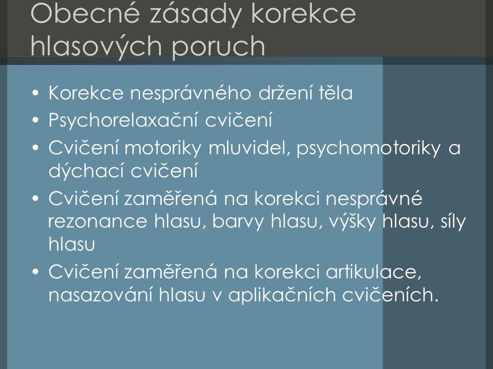 Obecné zásady korekce hlasových poruch