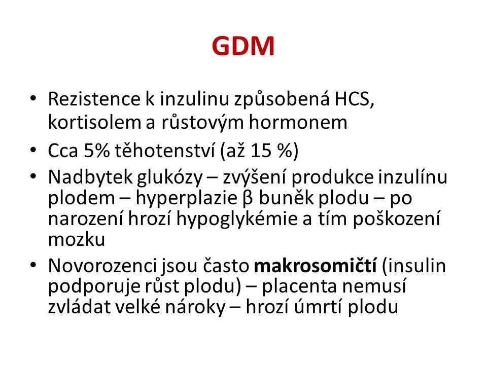 GDM Rezistence k inzulinu způsobená HCS, kortisolem a růstovým hormonem. Cca 5% těhotenství (až 15 %)