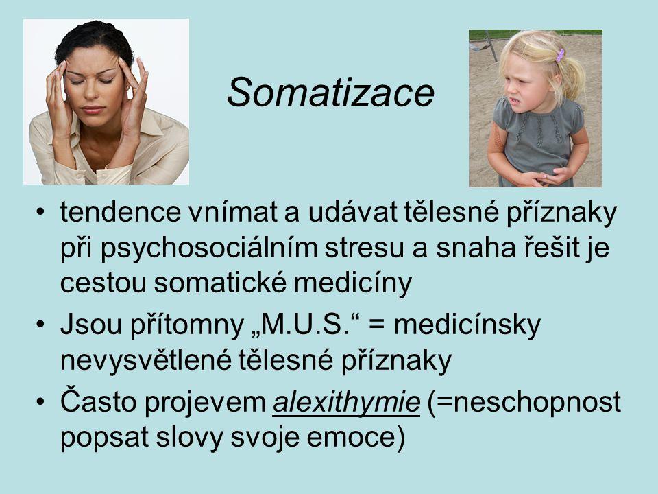 Somatizace tendence vnímat a udávat tělesné příznaky při psychosociálním stresu a snaha řešit je cestou somatické medicíny.