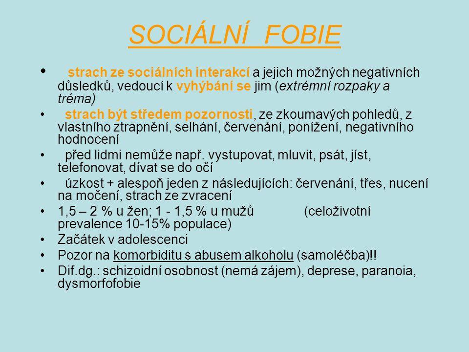 SOCIÁLNÍ FOBIE strach ze sociálních interakcí a jejich možných negativních důsledků, vedoucí k vyhýbání se jim (extrémní rozpaky a tréma)