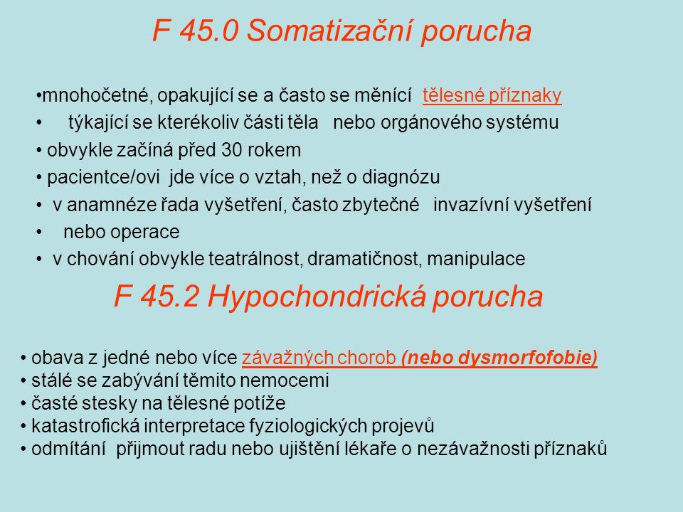 F 45.2 Hypochondrická porucha