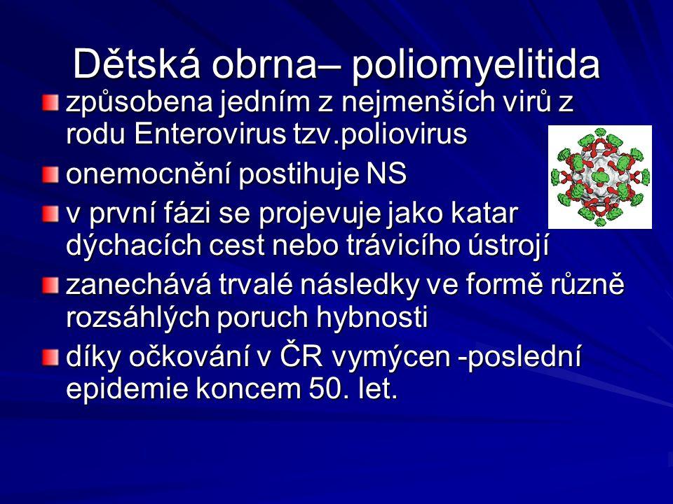 Dětská obrna– poliomyelitida