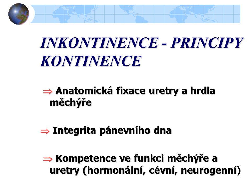 INKONTINENCE - PRINCIPY KONTINENCE