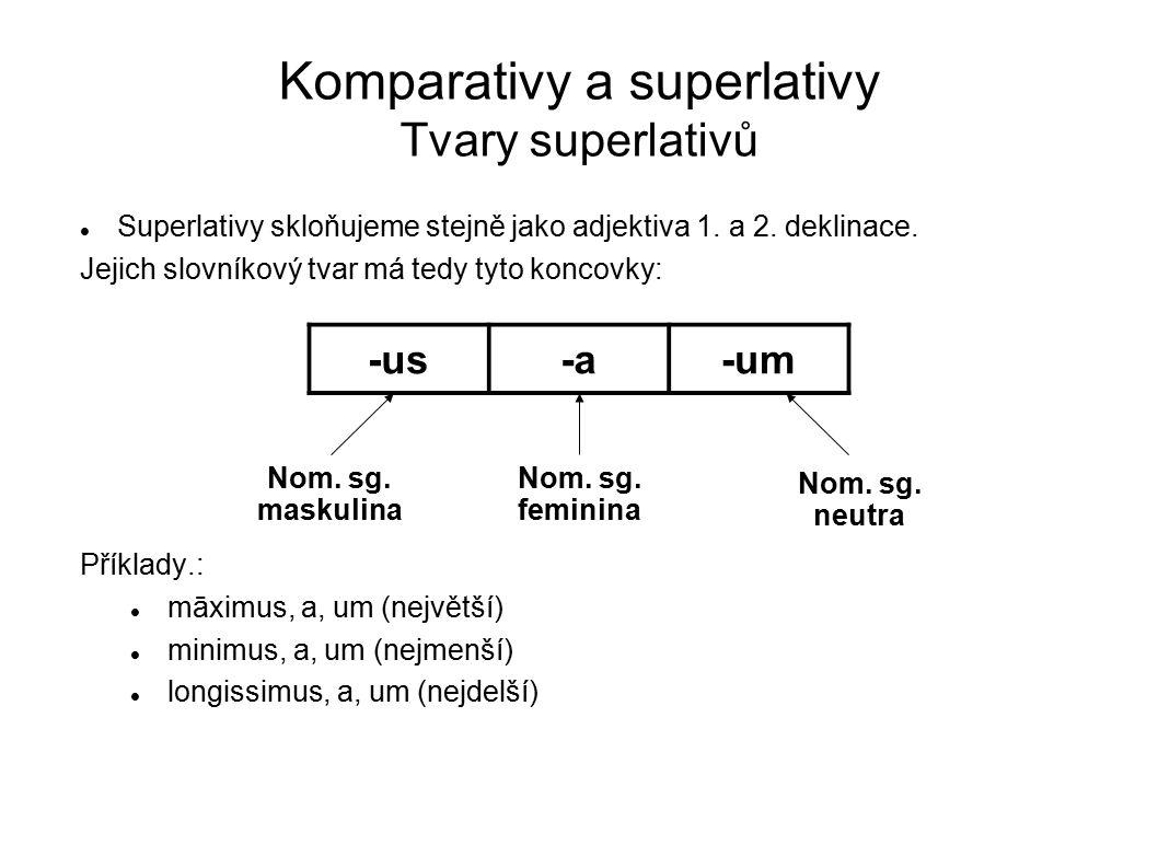 Komparativy a superlativy Tvary superlativů
