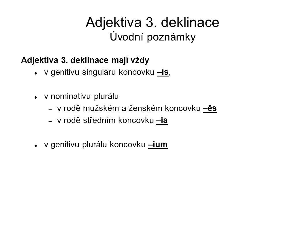 Adjektiva 3. deklinace Úvodní poznámky