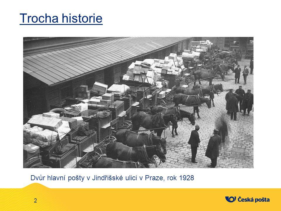 Trocha historie Dvůr hlavní pošty v Jindřišské ulici v Praze, rok 1928