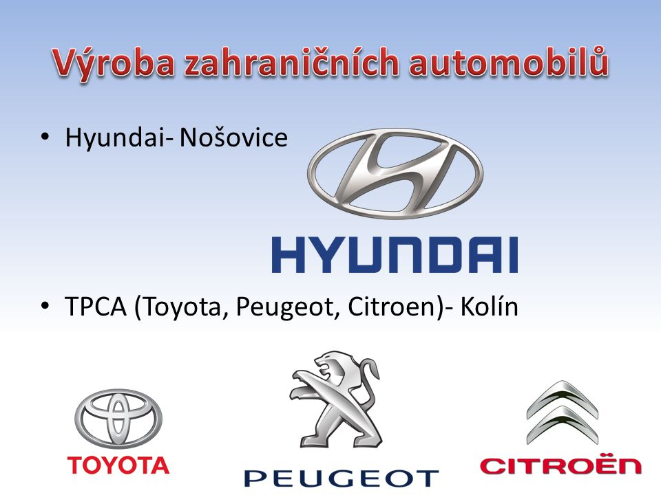 Výroba zahraničních automobilů