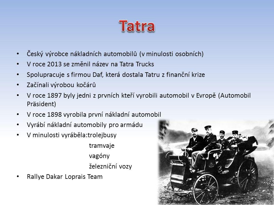 Tatra Český výrobce nákladních automobilů (v minulosti osobních)
