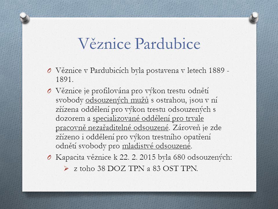 Věznice Pardubice Věznice v Pardubicích byla postavena v letech 1889 - 1891.