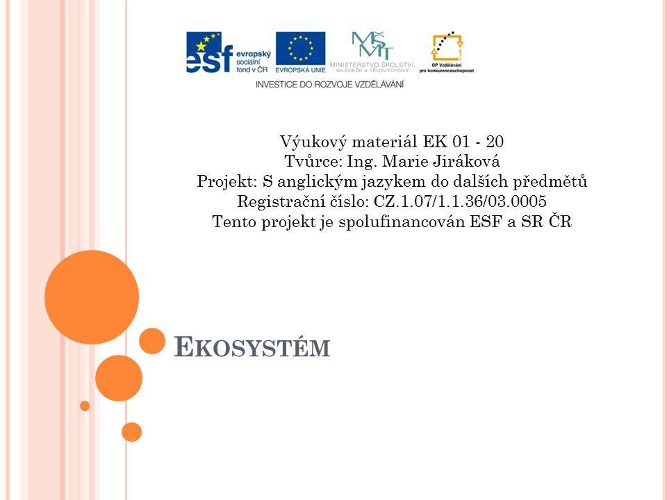 Ekosystém Výukový materiál EK 01 - 20 Tvůrce: Ing. Marie Jiráková