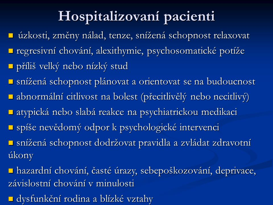 Hospitalizovaní pacienti