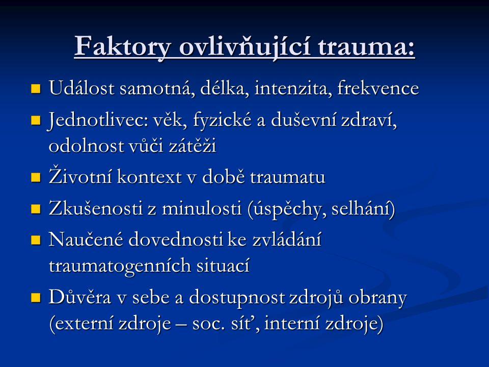 Faktory ovlivňující trauma:
