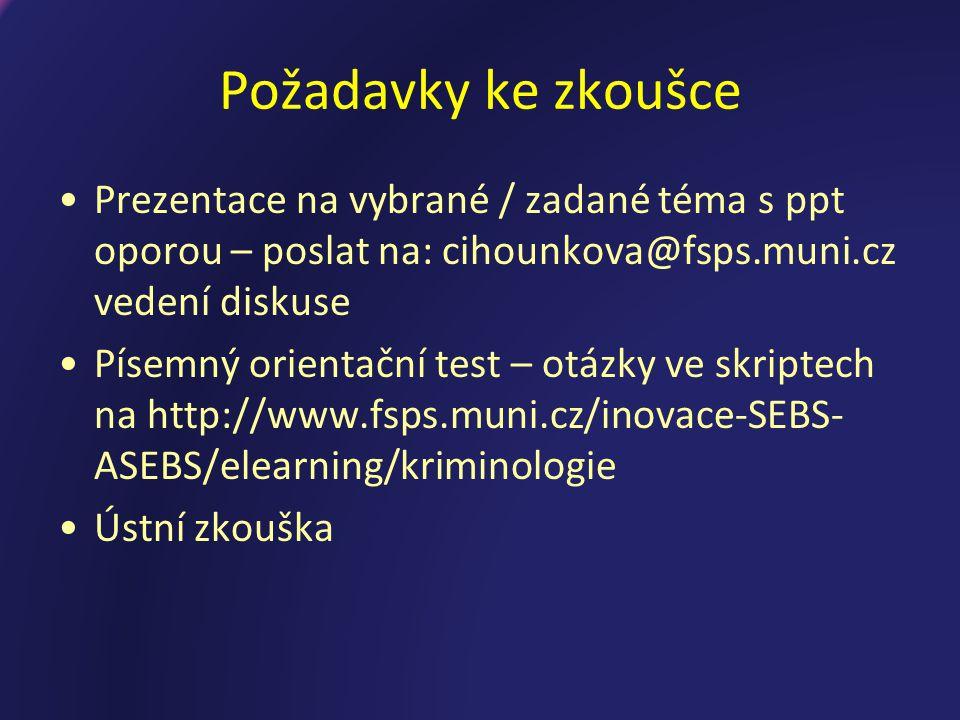 Požadavky ke zkoušce Prezentace na vybrané / zadané téma s ppt oporou – poslat na: cihounkova@fsps.muni.cz vedení diskuse.