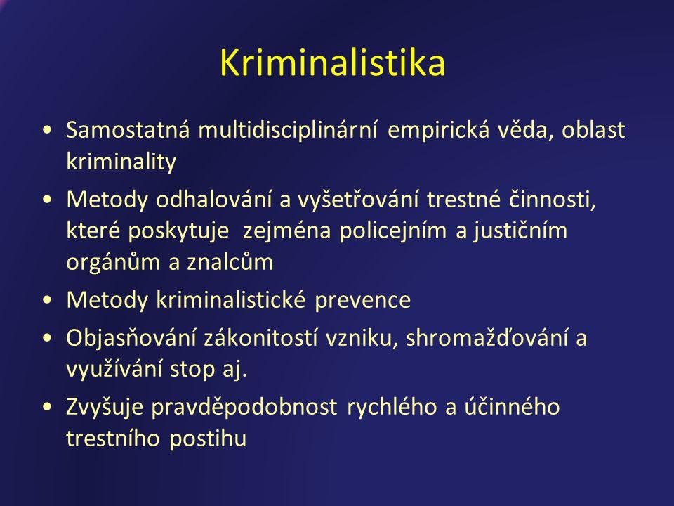 Kriminalistika Samostatná multidisciplinární empirická věda, oblast kriminality.
