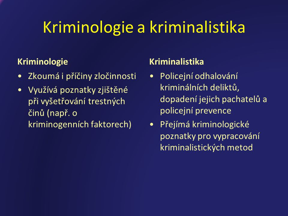 Kriminologie a kriminalistika