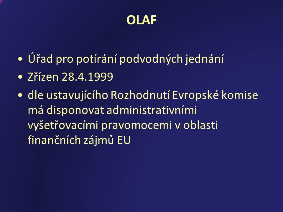 OLAF Úřad pro potírání podvodných jednání Zřízen 28.4.1999