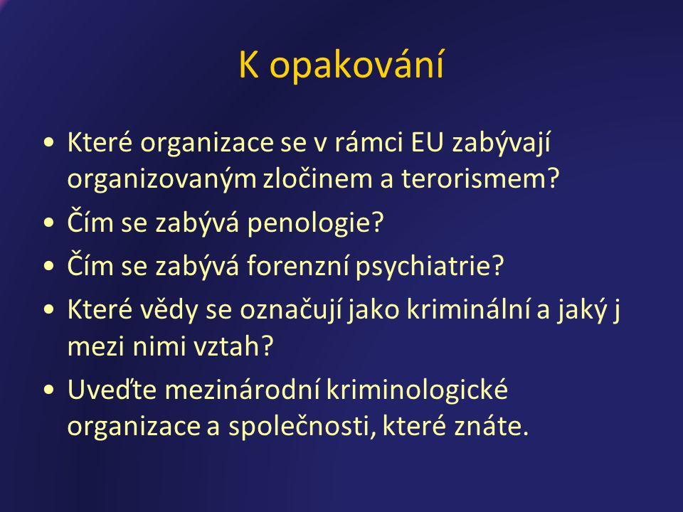 K opakování Které organizace se v rámci EU zabývají organizovaným zločinem a terorismem Čím se zabývá penologie