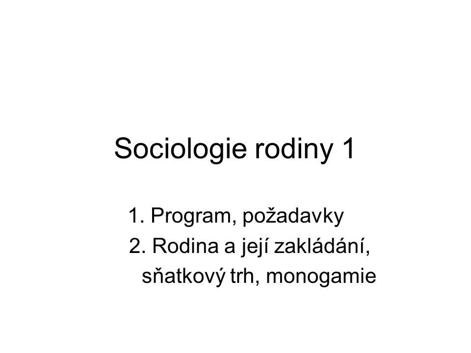 Sociologie rodiny 1 1. Program, požadavky 2. Rodina a její zakládání,