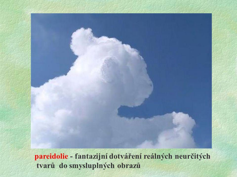 pareidolie - fantazijní dotváření reálných neurčitých