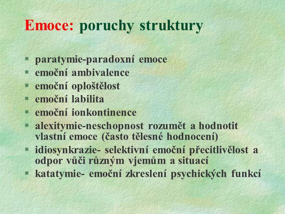 Emoce: poruchy struktury
