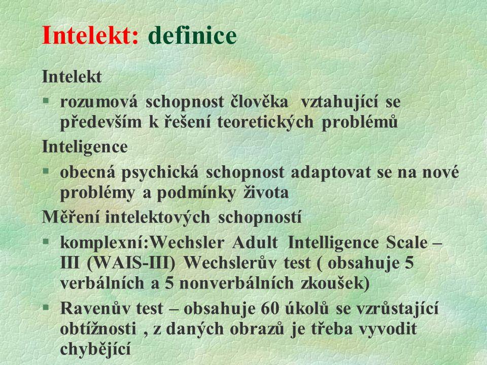 Intelekt: definice Intelekt