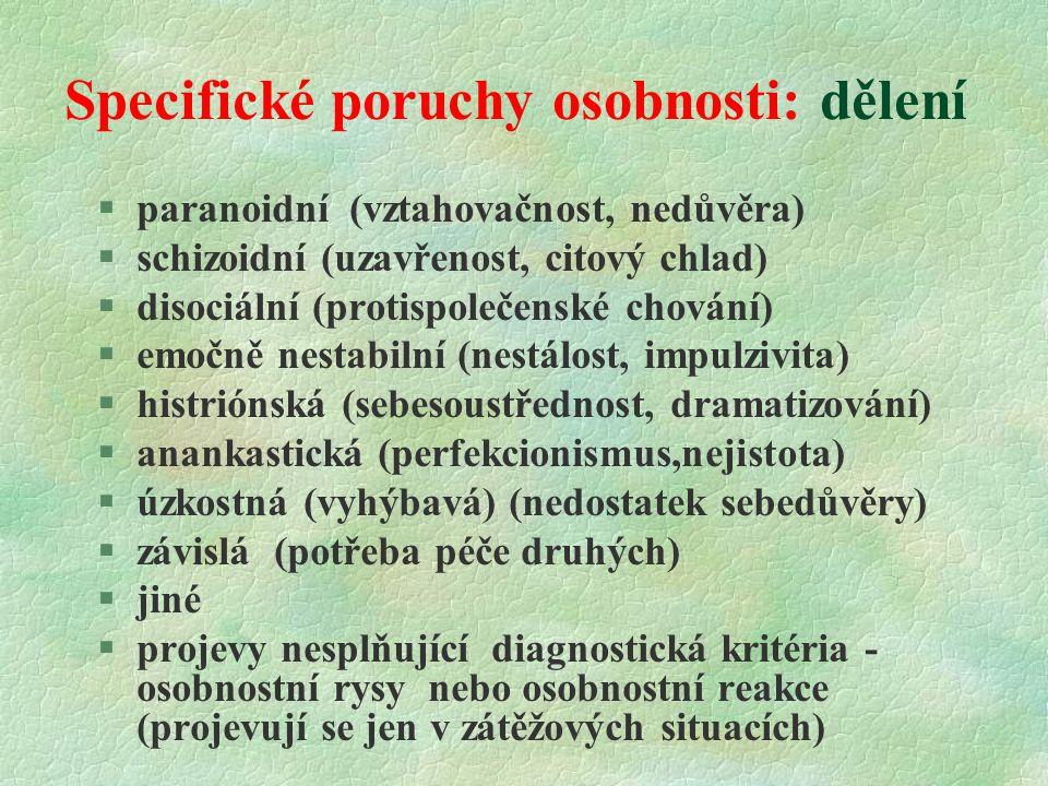 Specifické poruchy osobnosti: dělení