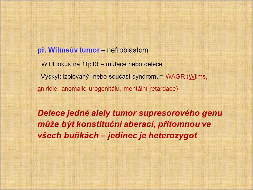 př. Wilmsův tumor = nefroblastom