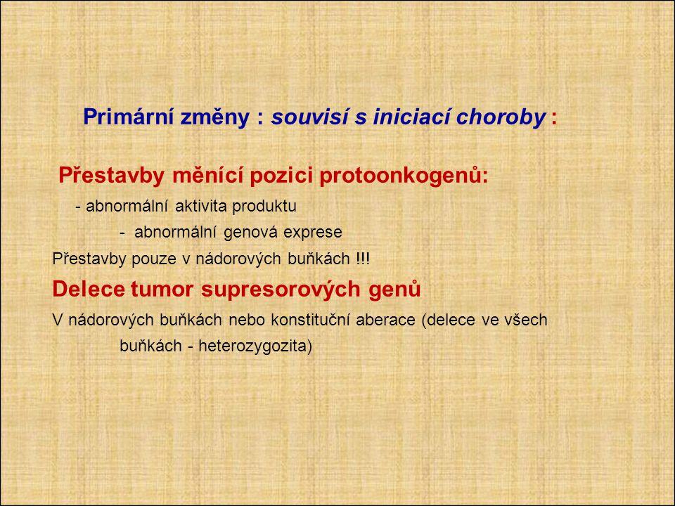 Primární změny : souvisí s iniciací choroby :