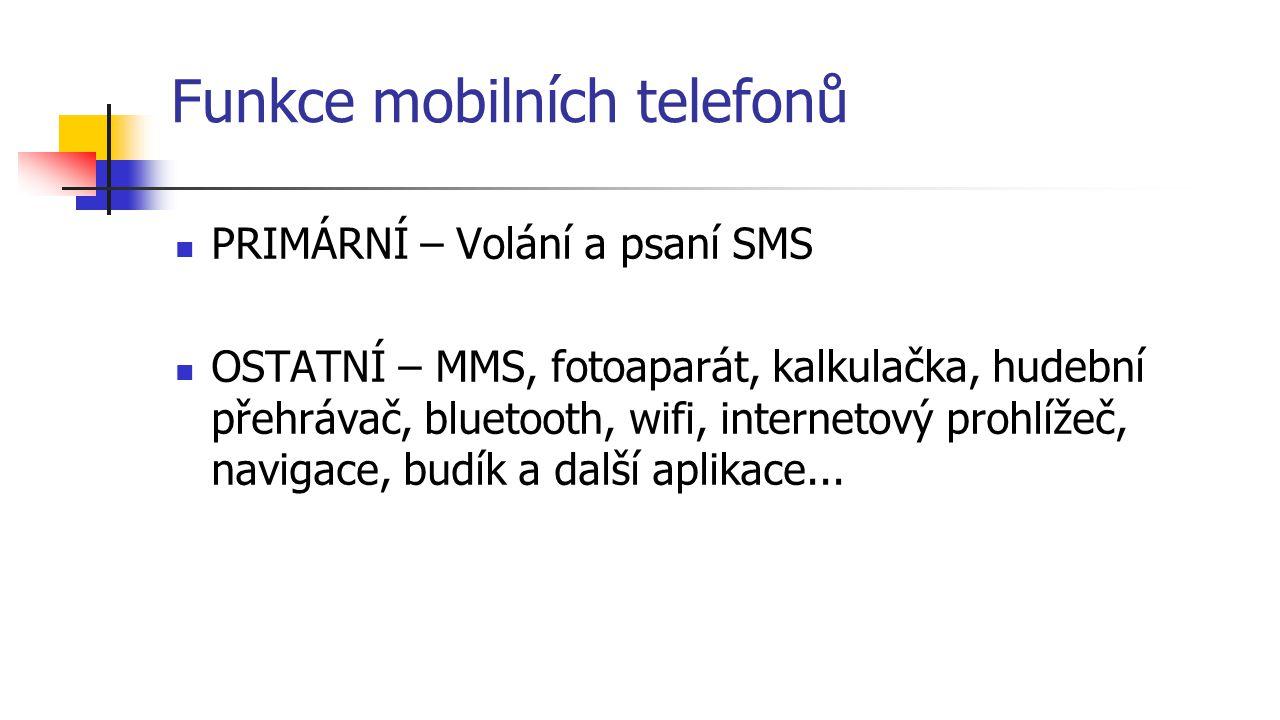 Funkce mobilních telefonů