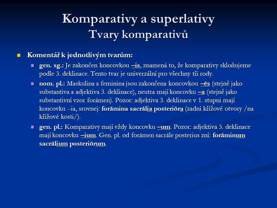 Komparativy a superlativy Tvary komparativů